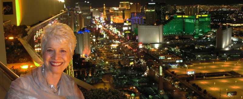 Celebrity Scribe Marsala Rypka above the Las Vegas Strip.