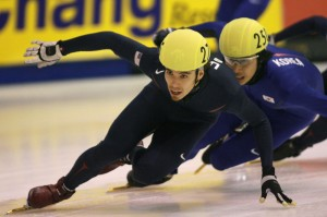 Apolo Anton Ohno in competition.